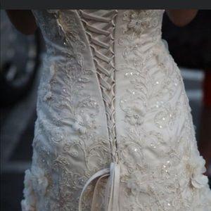 Maggie Soterro champagne wedding dress
